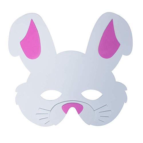 (Werbewas 1x Schaumstoff Masken mit Hase Tiermotiv - als Karnevals, Halloween, Geburtstags-Party Kostüm)