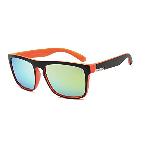 Herren Polarisierte Sonnenbrillen Sport Sonnenbrillen Bunte Angeln Reiten Brille Frauen Weiblichen Platz Bunte Spiegel Reis Nagel Freizeit Klassische Sonnenbrille Accessoires ( Color : Orange+golden )