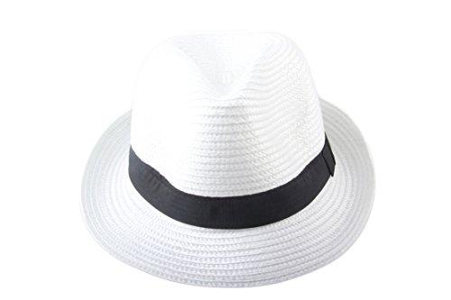Dantiya Unisexe Panama Chapeau de Soleil Plage en Été Classique Blanc