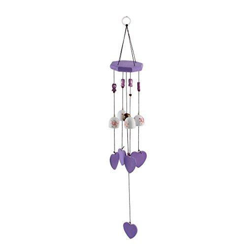 Dealmux en bois cadeaux de Noël Poisson en forme de coeur Perles de Bell Pendentif à suspendre Windbell Violet