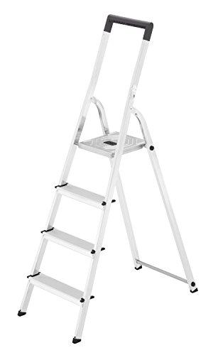 Hailo L40 BasicLine Alu-Sicherheits-Stehleiter, 4 Stufen, EasyClix, schwarzer Haltebügel, Eimerhaken, silber, made in Germany, 8140-407