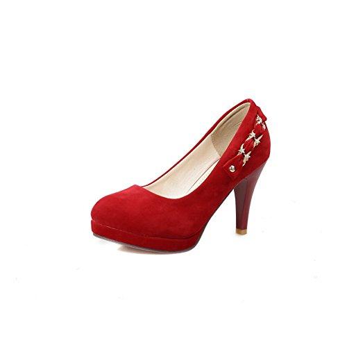 Massive Balamasa Para Mujer, Punta Redonda, Zapatos Con Suela De Goma-zapatos Rojos