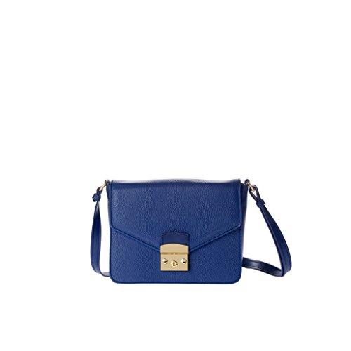 Sac pour femme porté épaule made in Italy en cuir véritable avec bandoulière et rabat DUDU Bleu marine