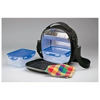 Thermotasche für Lebensmittel, große tragbare Kühltasche mit luftdichten Behältern zum Tragen, Umhängetasche als Frischhaltetasche für Lebensmittel, ideal für die Arbeit oder zum Campen, Farbe: Schwarz, für Damen und Herren