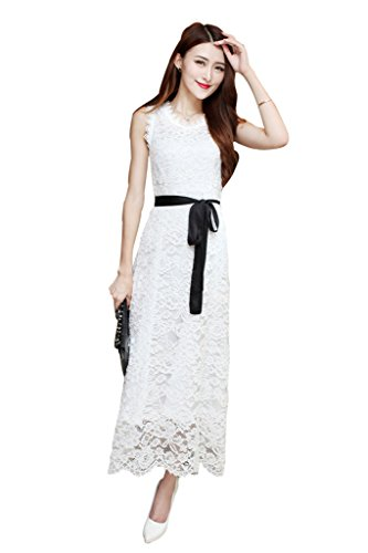 BOMOVO Damen Sommer Ohne Arm Lang Celebrity Party Ballkleid Abendkleid Maxi Kleid  Weiß