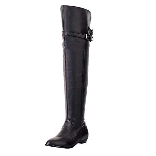 UH Damen Flache Overknee Stiefel Gefüttert Lange Boots mit Schnalle Bequeme Warm Herbst Winter Schuhe (41EU, Schwarz)