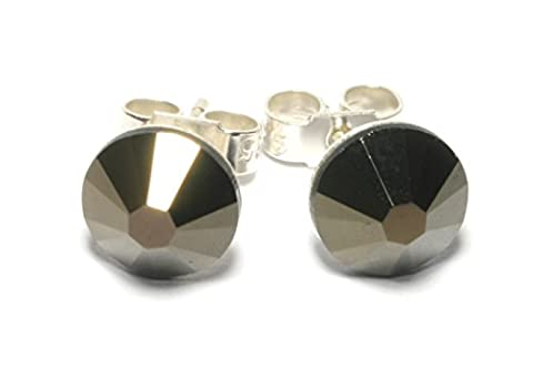 Sparkly 7mm Jet Nut Deep Brown Sterling Silver Crystal Stud Earrings Made With SWAROVSKI ELEMENTS