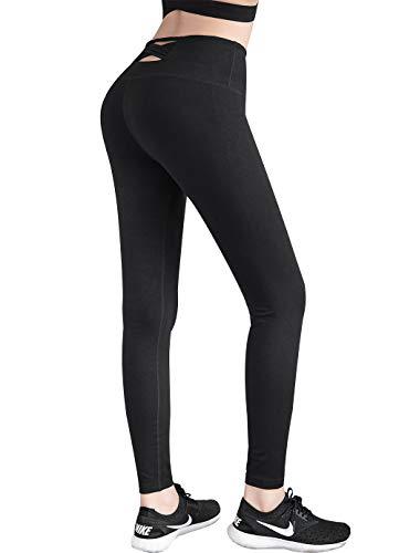 Le World Frauen Cross Yogahosen Leggings, Sexy Hohe Taille Elastische Enge Sporthosen Running Trainingshosen Schnell trocknende Fitness Hosen Slim Damen Capri Leggings Strumpfhosen Schwarz -