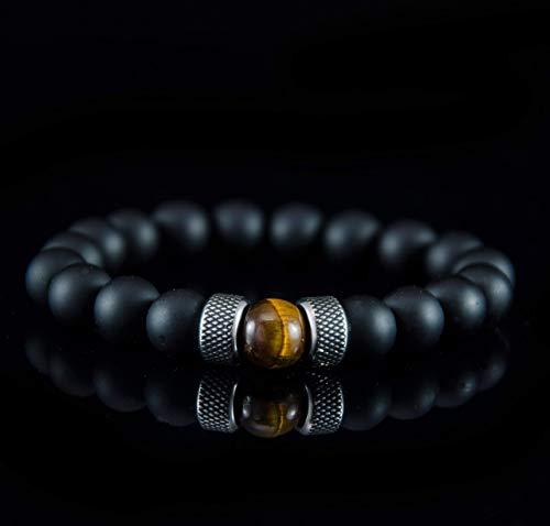 Herren Armband Kugel Tigerauge Onyx Edelstahl Silber 10mm Braun - Nepal Armbänder Gold