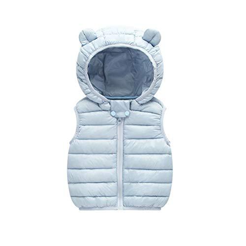 ARAUS Baby Weste Steppweste mit Kapuzen Unisex Daunenweste Winter Blau 12-24 Monate -