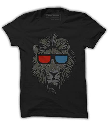 Quote Marshals Funky Lion King Black Cotton T-Shirt for Men's L