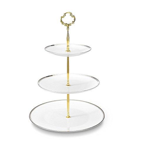 Touchlife Bone China Teetassen/Kaffeetassen & Untertassen-Sets mit spoons-6.7oz, für Zuhause, Restaurants, Display & Urlaub Geschenk, silberfarben Rand, mit Geschenk-Box, Knochenporzellan, 3 Tier, 3 Ablagefächer