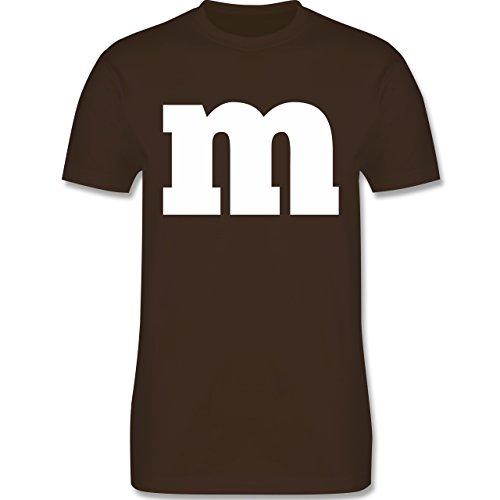 Karneval & Fasching - Gruppen-Kostüm m Aufdruck - S - Braun - L190 - Herren T-Shirt Rundhals