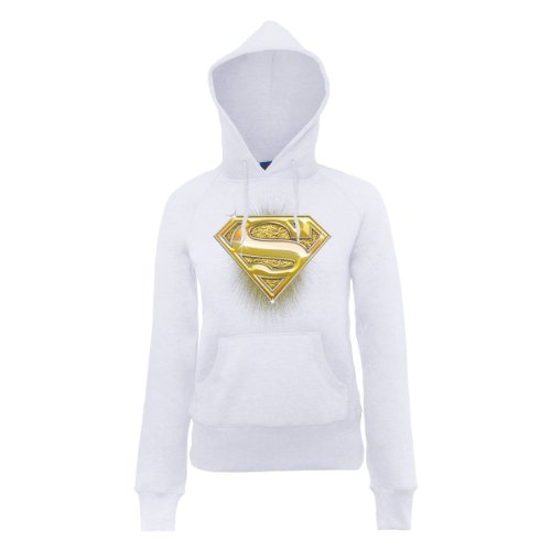 DC Universe Damen Kapuzenpullover Dc Comics Official Superman Bling Logo Womens Hooded Sweatshirt Weiß - Weiß