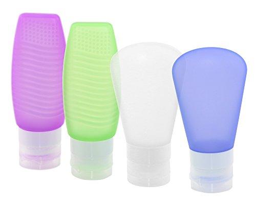 aschen für Toilettenartikel (Set), Silikon, ausflaufsichere Reiseflasche, Behälter für Accesoires/Shampoo/Spülung/Cremes, Lila, Blau, Grün und Klar, 2X 60 2X 78 ml ()