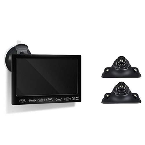 Wu\'s Rückfahrkamera-Kit, Zwei-Seiten-Überwachung des blinden Flecks, Einparkhilfe, Nachtsicht-Einparkhilfe mit 7-Zoll-Monitor, Weitwinkel, wasserdicht,LED
