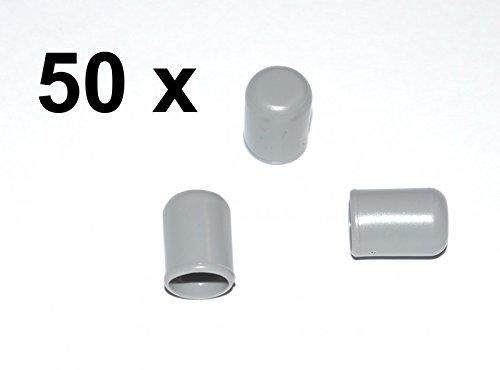 50 x Kappe für Rundrohr D=8 mm L=12 mm grau PVC