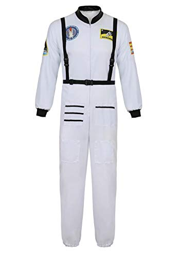 Kostüm Material Raumanzug - Josamogre Astronauten Kostüm Erwachsene Herren Kostüm Astronaut Weltraum Raumfahrer Halloween Cosplay Weiß XL