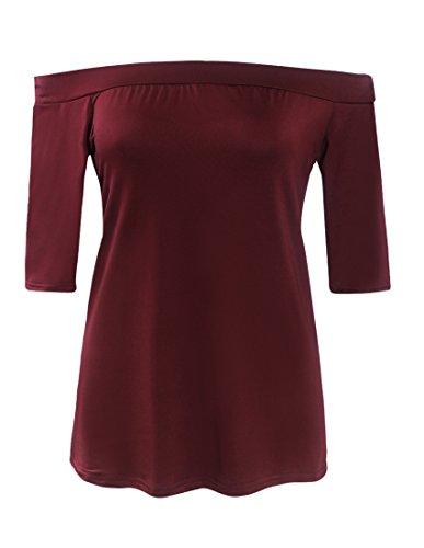 SunIfSnow - Camicia - Asimmetrico - Basic - Maniche corte  -  donna Red Wine X-Large