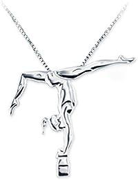 MIKELART JEWELS Pendentif bijoux de gymnastique artistique SPLIT HANDSTAND LEG BENT SUR LE FAISCEAU,Écart vertical avec la jambe en flexion sur la poutre.