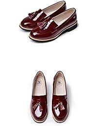 Mujeres clásicas borlas Penny mocasines plano bajo talón de charol de cuero Slip on zapatos confort
