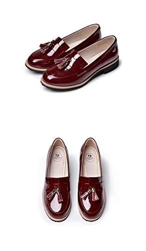 Leder-patent Leder Heels (Women es Classic Tasen Penny Loafers Flat Low Heel Patent Leder Slip On Shoes Comfort Loafers,Red,37)