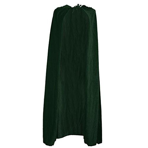 (Blesiya Unisex-Umhang für Erwachsene, für Halloween, Weihnachten, Cosplay, für Kostüme als Vampir, Hexe, lang, aus Samt, Cape, für Party, 150 cm - Grün)