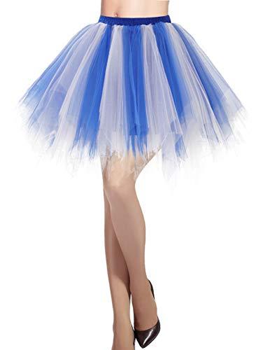 llrock 50er Rockabilly Petticoat Tutu Unterrock Kurz Ballett Tanzkleid Ballkleid Abendkleid Gelegenheit Zubehör Royal White M ()