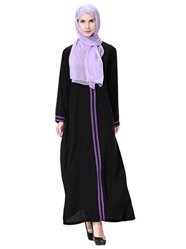 GladThink Mujer Musulmán Kaftan Abaya Vestido de Cuello Redondo Maxi Púrpura S