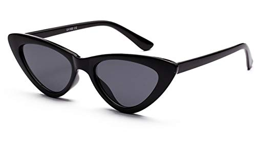 Daawqee New Cat Eye Sunglasses Women Clear Glitter Shiny Sexy Cool Sun Glasses Female Vintage Ins Celebrity Party Travel Sun Shade Black All Grey
