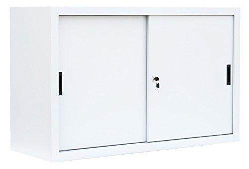Schiebetürenschrank Schiebetüren Büro Aktenschrank Sideboard aus Stahl weiß 750 x 1200 x 450 mm (H x B x T) 550127 kompl. montiert und verschweißt