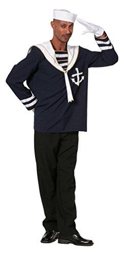 Karneval-Klamotten Matrosen Kostüm Matrose Herren-Kostüm Matrosenhemd mit Kragen Herren Matrosen-Kostüm Männer Größe 54