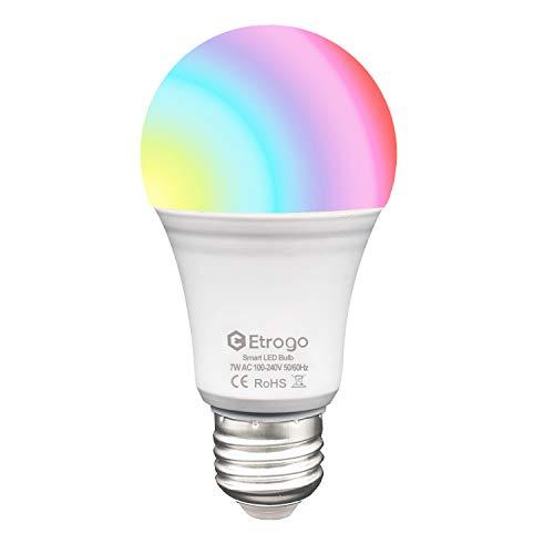 Bombilla WiFi Inteligente E27 RGB Bianco Frio Inalambrica LED 7W 650Lm Compatible Alexa y Google Home Control Remoto por dispositivos iOS/Android 1 Unidad