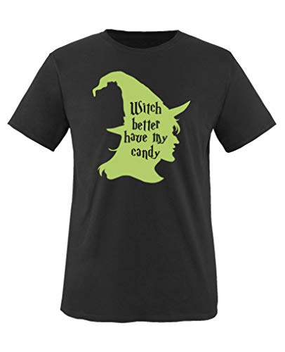 Comedy Shirts - Witch Better Have My Candy - Halloween - Mädchen T-Shirt - Schwarz/Grün Gr. 110-116