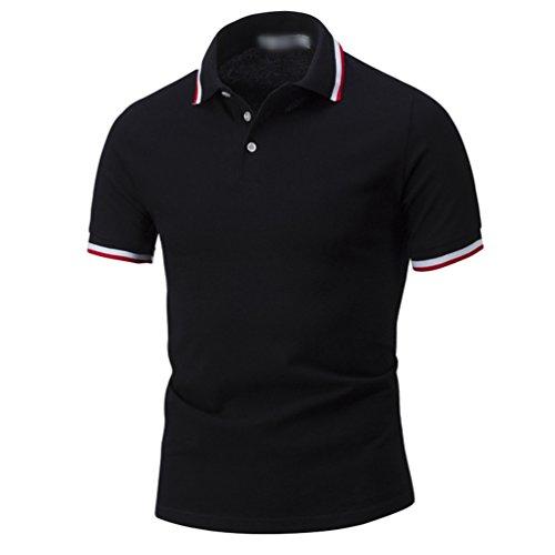 ZhiYuanAN Hommes Mode Poloshirt Casual Grande Taille Golf Shirt De Manches Courtes Confort Respirante Polo Chemise Noir 2XL