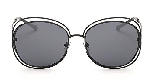 DFFDD Große Doppel-Ring Hohl Frau Sonnenbrille Mode-Sonnenbrille,Black2-FreeSize