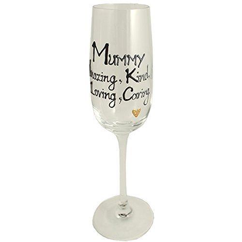Cadeau-Mummy-Flûte à Champagne en verre (Noir/argent)