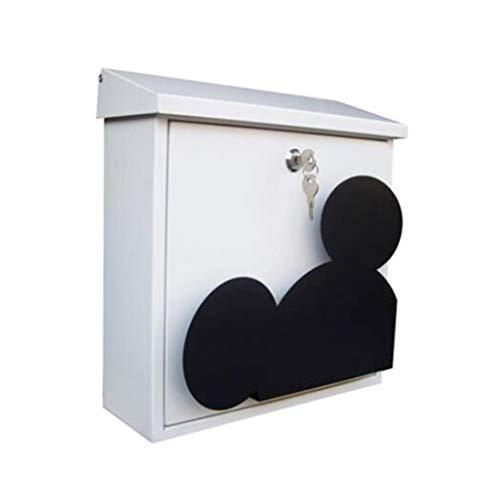 Briefkasten Briefkastenanlage Wand Mailbox Flip Design Wasserdicht rostfrei Zeitung Poster Aufbewahrungsbox 31,3 * 13,1 * 32,9 cm (Farbe : Weiß)