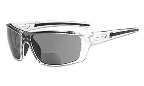 Eyekepper Bifokal Sonne Leser lesen Sonnenbrillen für Sport TR90 (Transparent Rahmen-Grau Linse,+1.50)