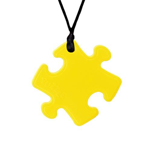 Zahnen Halskette, Yuccer Silikon Anhänger Chew Halskette Beißring Sensory Toys für Autismus, ADHS, Spezielle Bedürfnisse, Kinder, Erwachsene (Gelb)