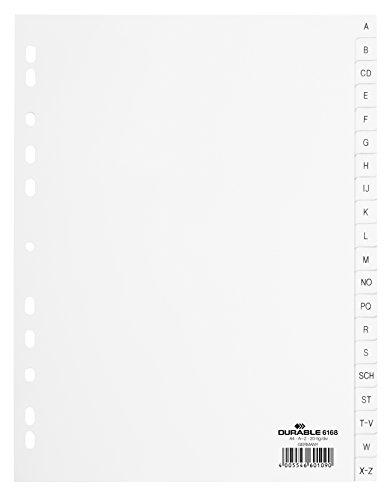 Durable 616801 Zahlenregister (PP, A4 geprägte Taben A-Z 20-teilig) 1 Stück weiß