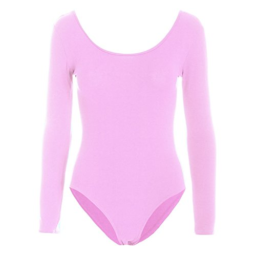 Damen Body Anzug Damen Einfarbig Langarm Rundhals Jersey Party Body Babyrosa