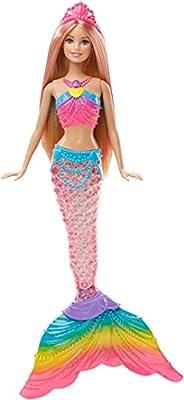 Barbie DHC40 - Barbie Rainbow Lights Sjöjungfru, Leksaksdocka med stjärt som lyser upp, För Barn från 3 år