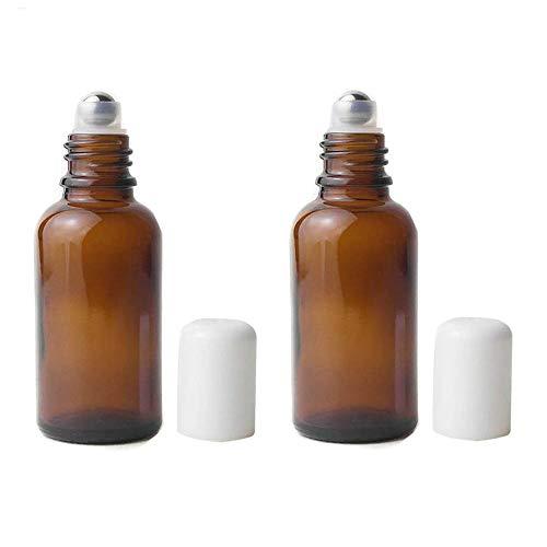 3PCS 30ML 1OZ leere nachfüllbare braune Glas-Roll-on-Flasche mit weißem Deckel und Edelstahl Roller Ball Kosmetik Make-up Container Glas Phiole Halter für Parfüm ätherisches Öl Aromatherapie