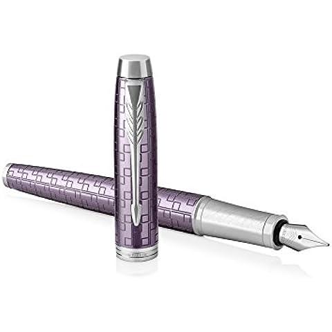 Parker IM–Penna roller con refill inchiostro nero a punta fine, colore: viola scuro