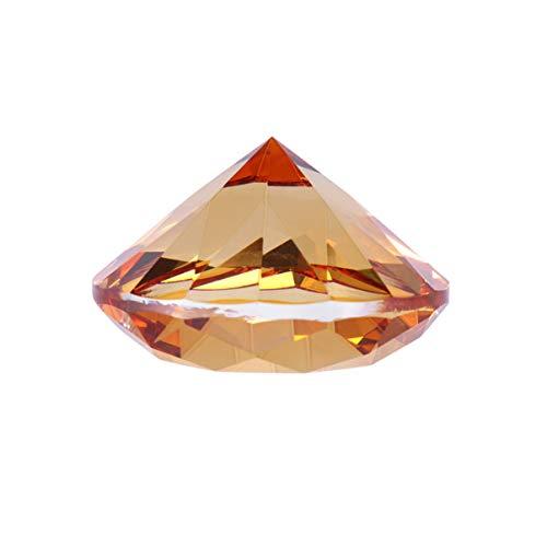 Amosfun Kristall Diamant großen Rubin Juwel Briefbeschwerer Juwelen Ornament Geschenk Hochzeit Scatter Konfetti Hauptdekorationen 60mm (Bernstein) -