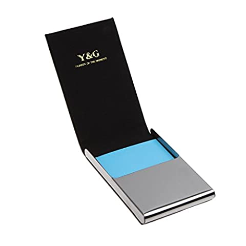 YDC06A14 Gris Noir Travel Gift Leather Porte-cartes ¨¦l¨¦gant nom ID Credit Card Case Avec bo?te cadeau Par Y&G