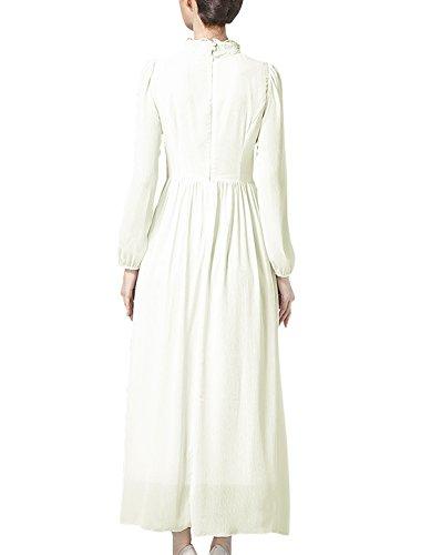 Femme Perlé Faux Cou Manches Longues Crochet Insert Maille Robe Mousseline Blanc