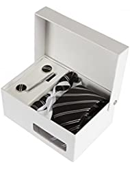 Coffret Cadeau Brasilia - Cravate slim noire à rayures blanches et noires, boutons de manchette, pince à cravate, pochette de costume