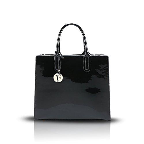 Tisdaini 2017 neue Art und Weise PU-Glanzleder glänzende Schale weibliche Handtaschenhandtaschen-Schulter Kurierbeutel großes Kapazitätsdamen-Freizeitpaket schwarz
